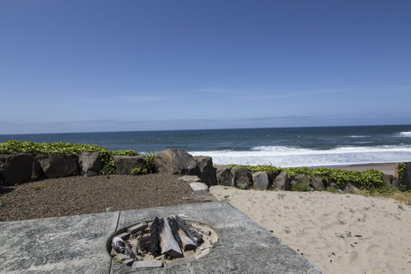 built-in campfire pit - custom ocean beach house - Oregon