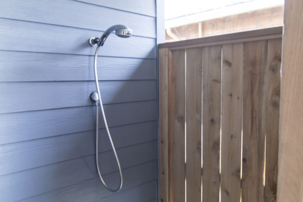 Beach house - outdoor shower - custom Oregon home